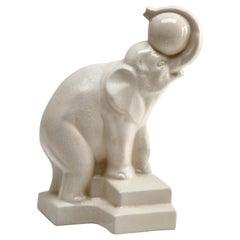 Art Deco Cracked Ceramic Elephant Signed Duquenne, Stamp Longwy, 1930s
