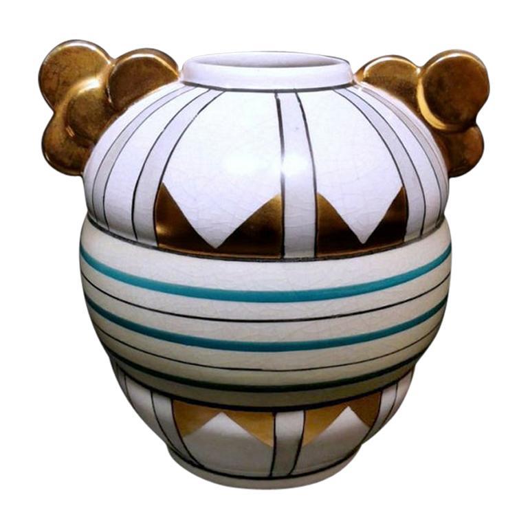 Art Deco Craquelé Ceramic Vase Production A.M.C. Belgium
