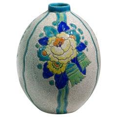 """Art Deco """"Craquelé"""" Vase by Charles Catteau for Keramis, 1920s"""