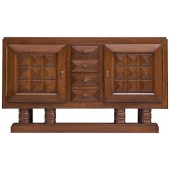 Art Deco Credenza in Darkened Oak by Gaston Poisson
