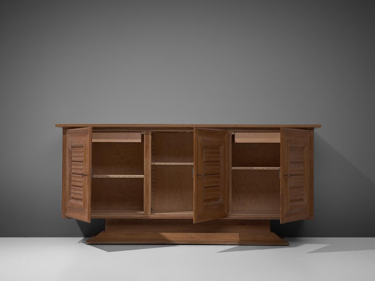 Mid-20th Century Art Deco Credenza in Oak, 1940s For Sale