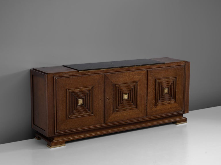 French Art Deco Credenza in Oak with Marble Top For Sale