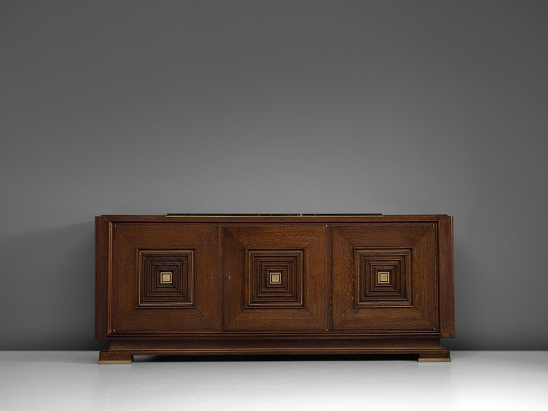 Art Deco Credenza in Oak with Marble Top In Good Condition For Sale In Waalwijk, NL