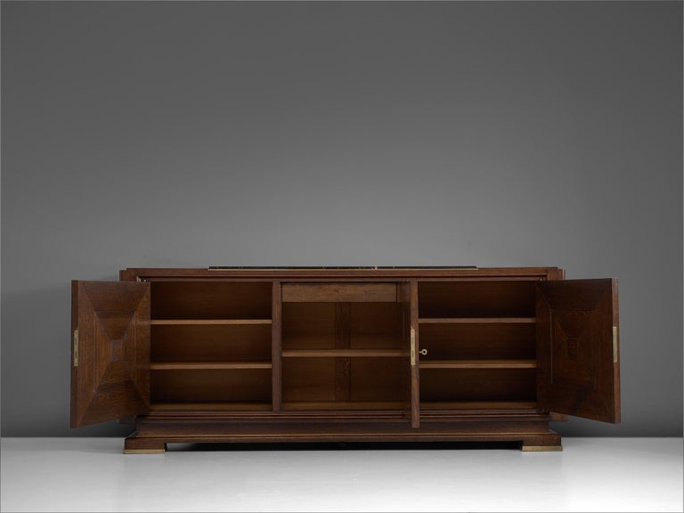 Mid-20th Century Art Deco Credenza in Oak with Marble Top For Sale