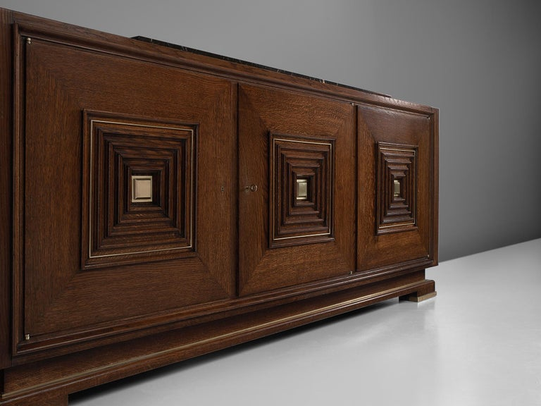 Brass Art Deco Credenza in Oak with Marble Top For Sale