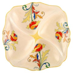 Art Deco Cresta Dish in Hand Painted Porcelain, Royal Doulton, England