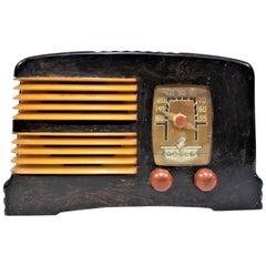 Art Deco Crosley Model G-1465 Black & Butterscotch Marbleized Catalin Radio