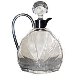 Scherk Art Deco Crystal and Silver Decanter