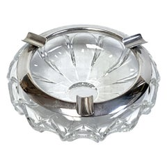 Art Deco Crystal and Sterling Cigar Ashtray