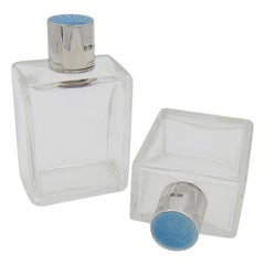 Art Deco Crystal and Sterling Silver Scent Bottles, Blue Guilloche Enamel, 1936
