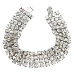 Art Deco Crystal Link Bracelet in Silver, Early 1900s