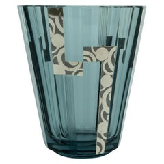 Art Deco Crystal Vase with Silver Overlay
