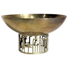 Art Deco Cubist Brass Hagenauer Attrib. Golf Inspired Pedestal Serving Bowl