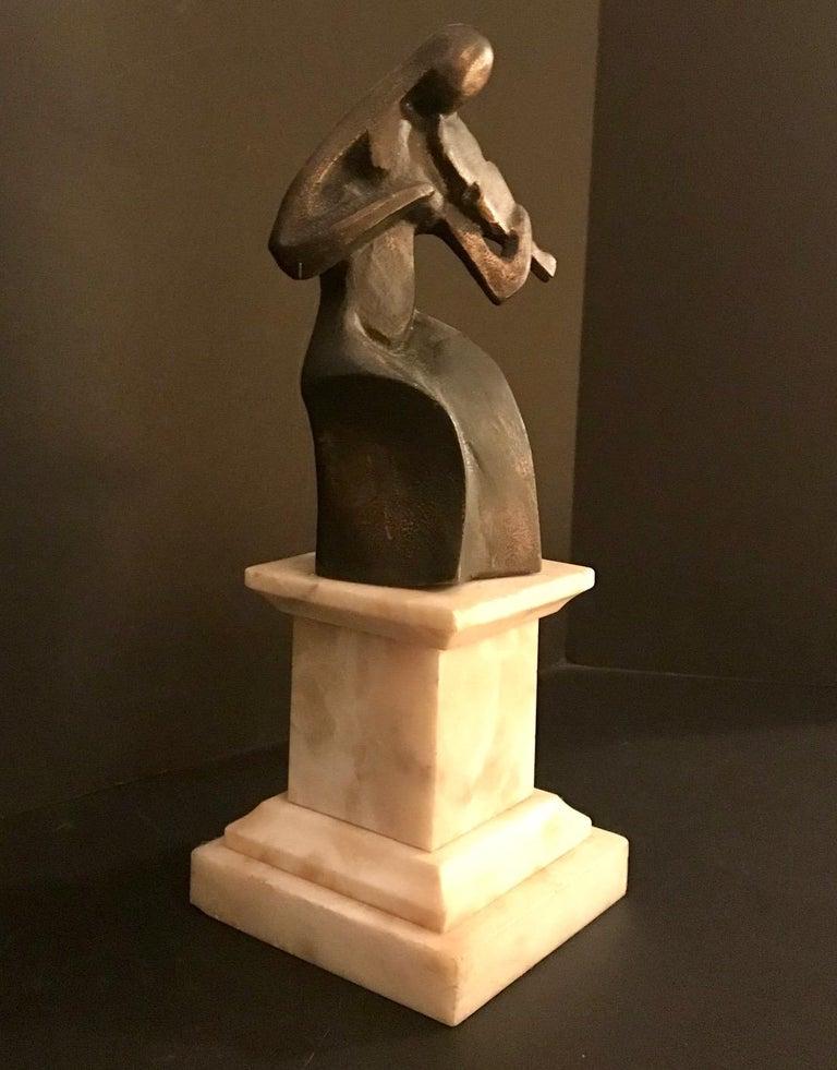 French Art Deco Cubist Bronze Figural Sculpture, Le Violoniste, circa 1930 For Sale