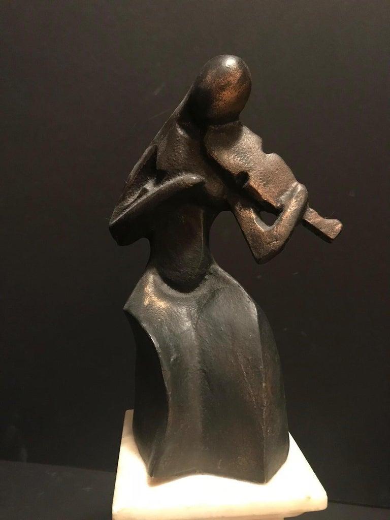 Art Deco Cubist Bronze Figural Sculpture, Le Violoniste, circa 1930 In Good Condition For Sale In Vero Beach, FL