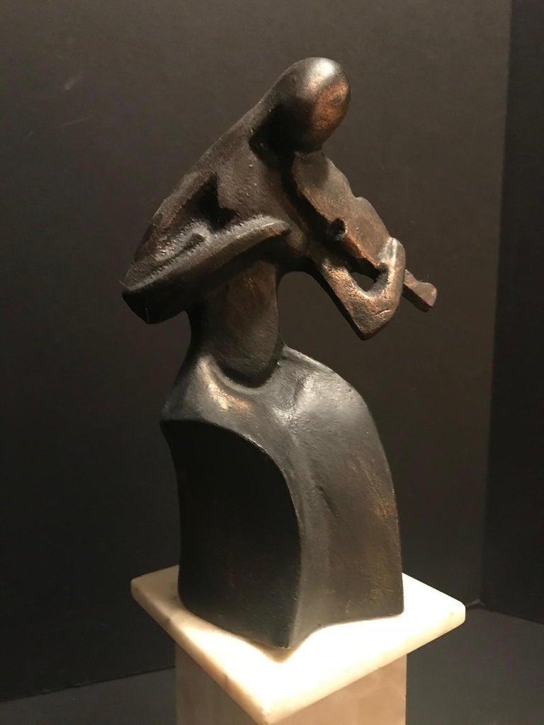 20th Century Art Deco Cubist Bronze Figural Sculpture, Le Violoniste, circa 1930 For Sale
