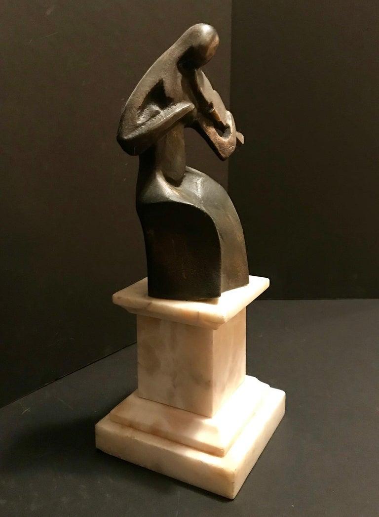 Art Deco Cubist Bronze Figural Sculpture, Le Violoniste, circa 1930 For Sale 1