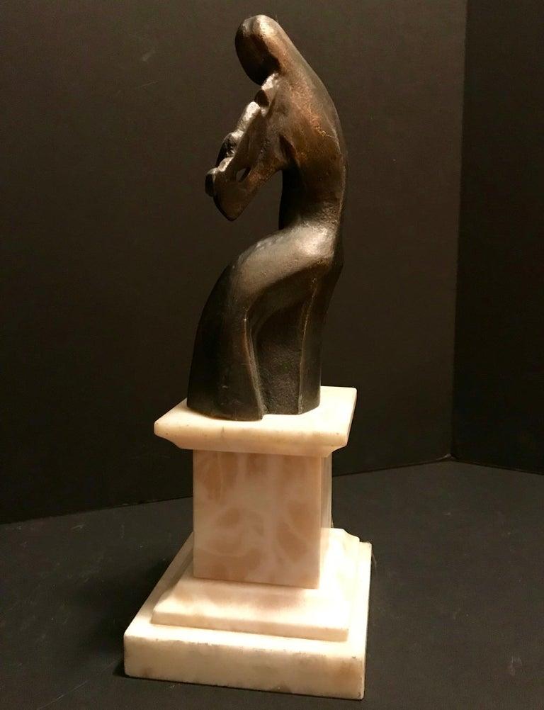 Art Deco Cubist Bronze Figural Sculpture, Le Violoniste, circa 1930 For Sale 3