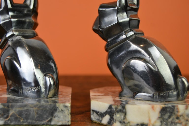 Art Deco Cubist Bulldog Bookends by H.Moreau, Chromed Metal, Marble, France For Sale 5