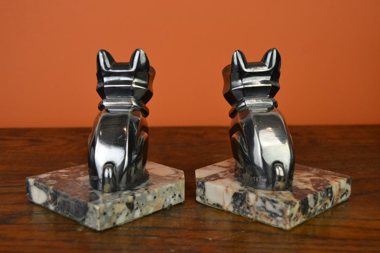 Art Deco Cubist Bulldog Bookends by H.Moreau, Chromed Metal, Marble, France For Sale 6