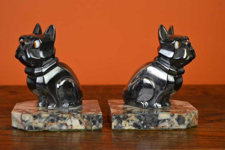 Art Deco Cubist Bulldog Bookends by H.Moreau, Chromed Metal, Marble, France For Sale 7