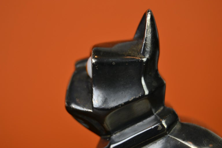 Art Deco Cubist Bulldog Bookends by H.Moreau, Chromed Metal, Marble, France For Sale 8