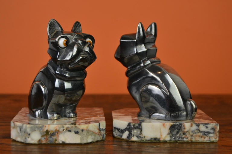 Art Deco Cubist Bulldog Bookends by H.Moreau, Chromed Metal, Marble, France For Sale 13
