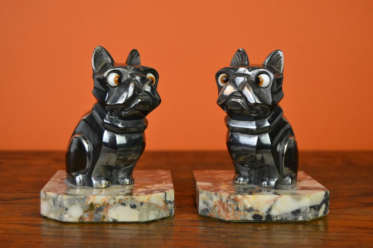 Art Deco Cubist Bulldog Bookends by H.Moreau, Chromed Metal, Marble, France For Sale 15