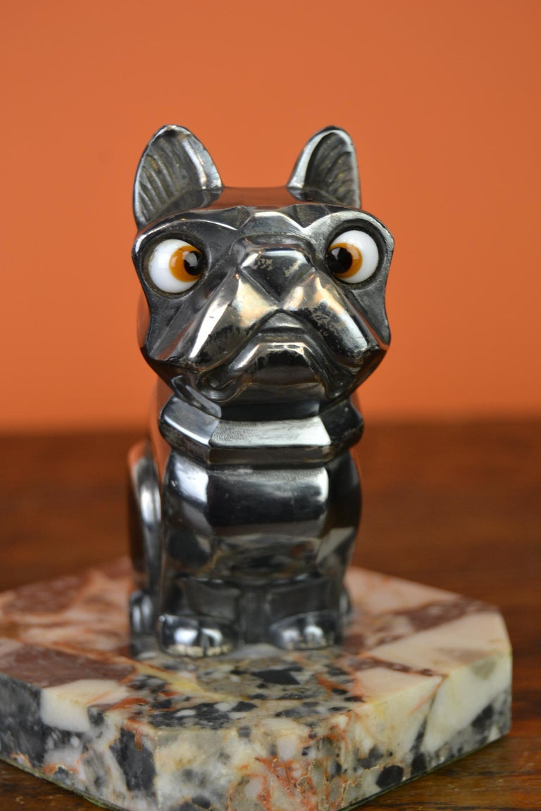 Art Deco Cubist Bulldog Bookends by H.Moreau, Chromed Metal, Marble, France In Good Condition For Sale In Antwerp, BE