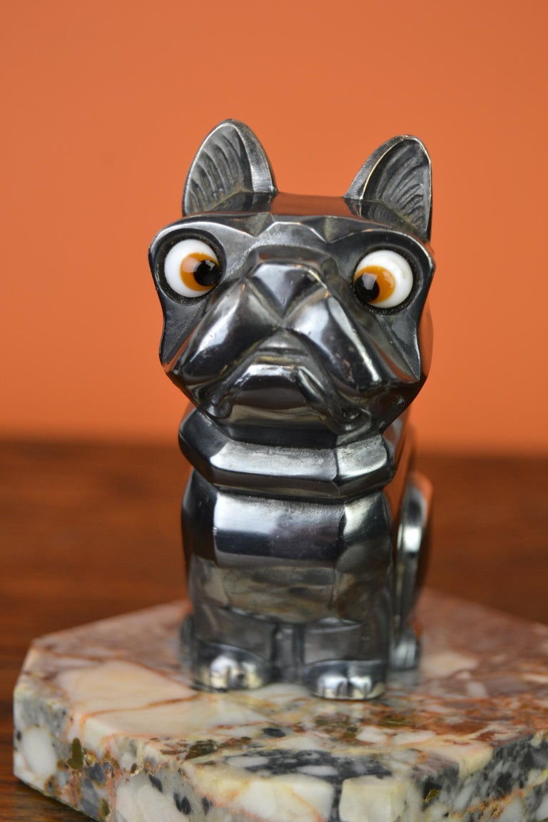 20th Century Art Deco Cubist Bulldog Bookends by H.Moreau, Chromed Metal, Marble, France For Sale