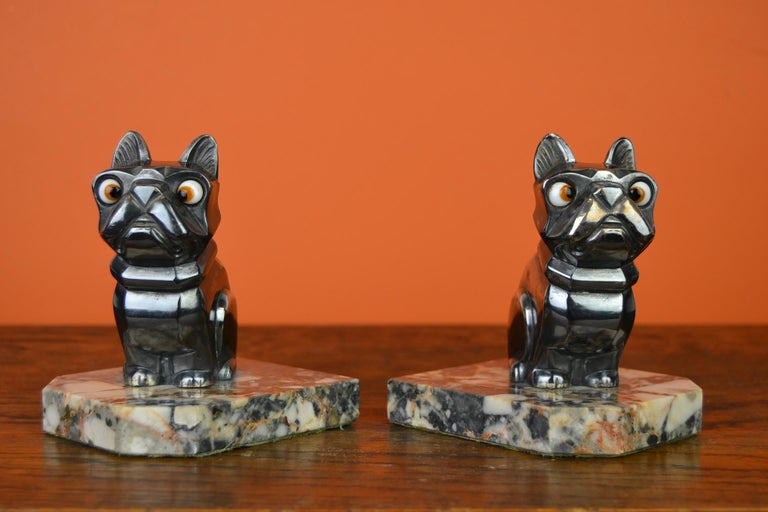 Art Deco Cubist Bulldog Bookends by H.Moreau, Chromed Metal, Marble, France For Sale 1