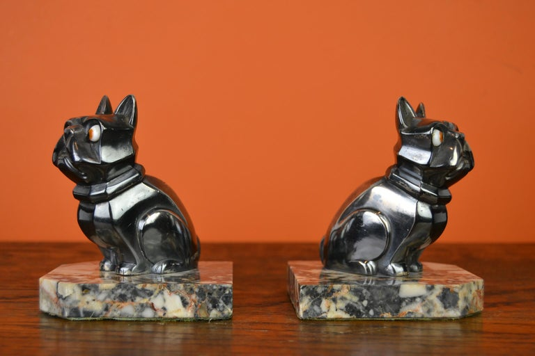 Art Deco Cubist Bulldog Bookends by H.Moreau, Chromed Metal, Marble, France For Sale 2
