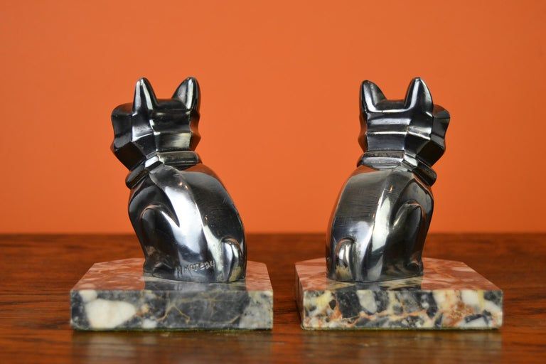 Art Deco Cubist Bulldog Bookends by H.Moreau, Chromed Metal, Marble, France For Sale 3