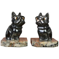 Art Deco Cubist Bulldog Bookends by H.Moreau, Chromed Metal, Marble, France