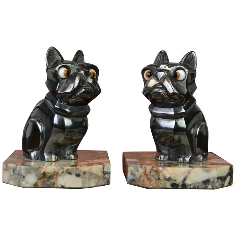 Art Deco Cubist Bulldog Bookends by H.Moreau, Chromed Metal, Marble, France For Sale