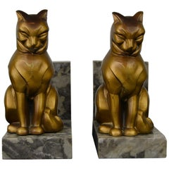 Art Deco Cubist Cat Bookends by Franjou, France, 1930s