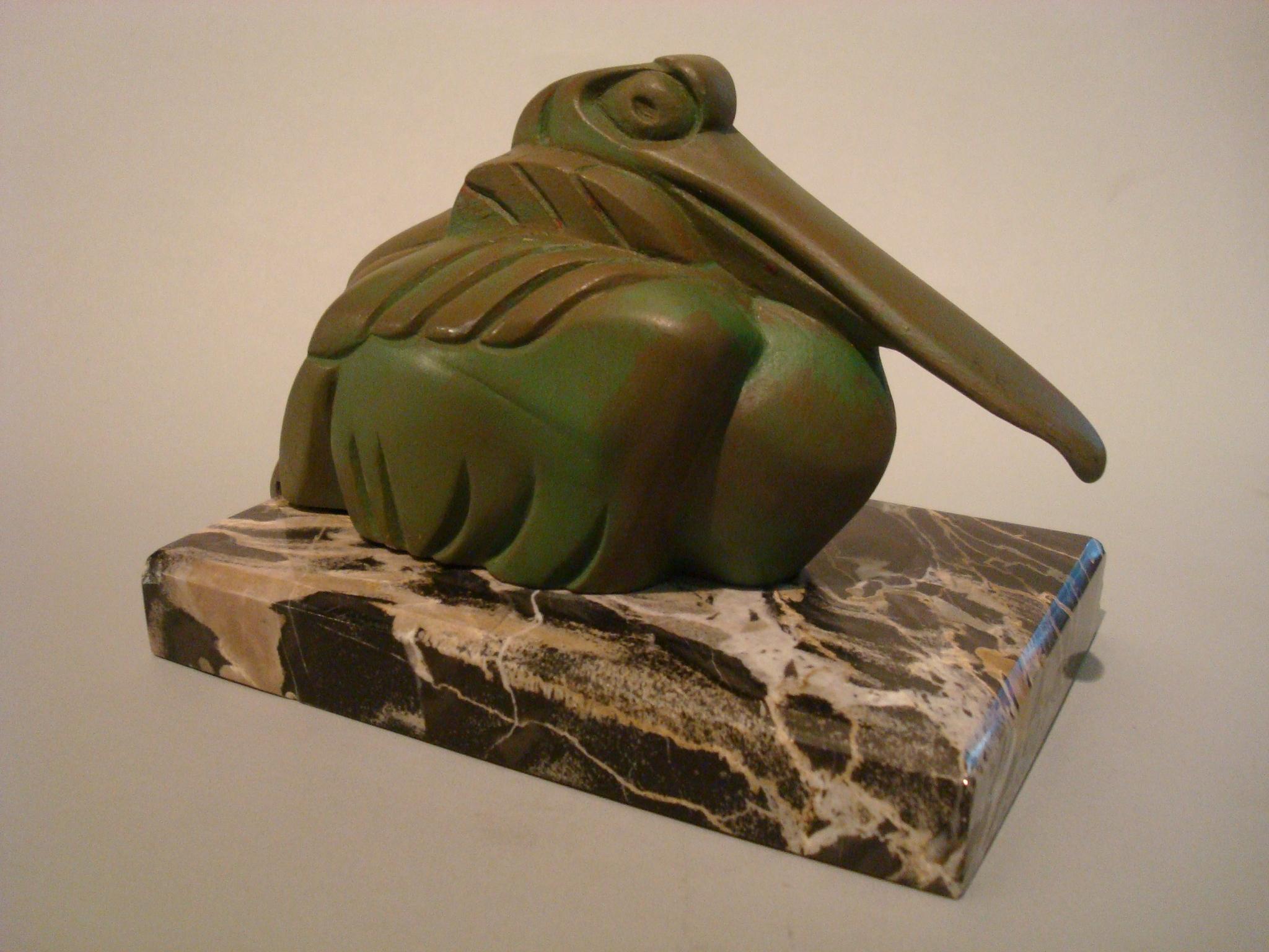 Art Deco Cubist Pelican Paperweight Desk Sculpture by G.H. Laurent, France, 1925
