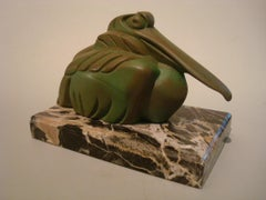 Art Deco Cubist Pelican Paperweight Desk Sculpture by G.H. Laurent, France, 1925