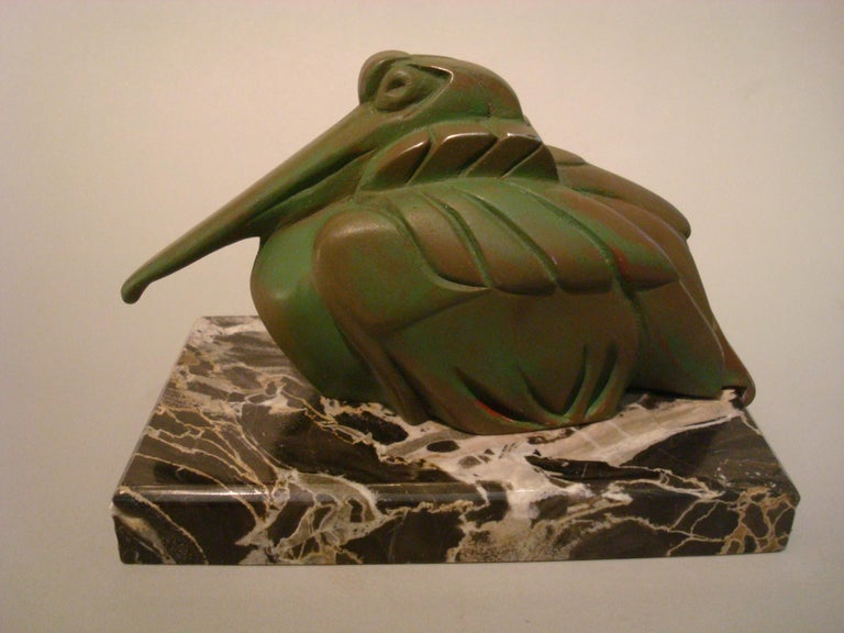 French Art Deco Cubist Pelican Paperweight Desk Sculpture by G.H. Laurent, France, 1925 For Sale