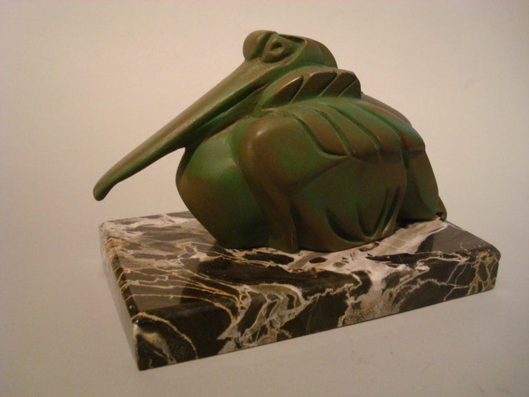 Art Deco Cubist Pelican Paperweight Desk Sculpture by G.H. Laurent, France, 1925 In Good Condition For Sale In Buenos Aires, Olivos