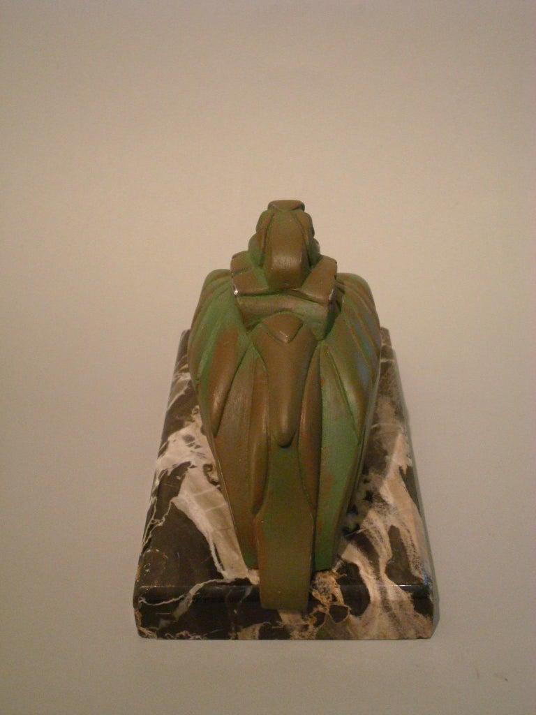 Metal Art Deco Cubist Pelican Paperweight Desk Sculpture by G.H. Laurent, France, 1925 For Sale