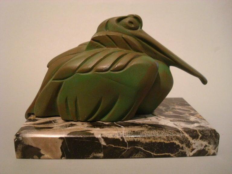 Art Deco Cubist Pelican Paperweight Desk Sculpture by G.H. Laurent, France, 1925 For Sale 3