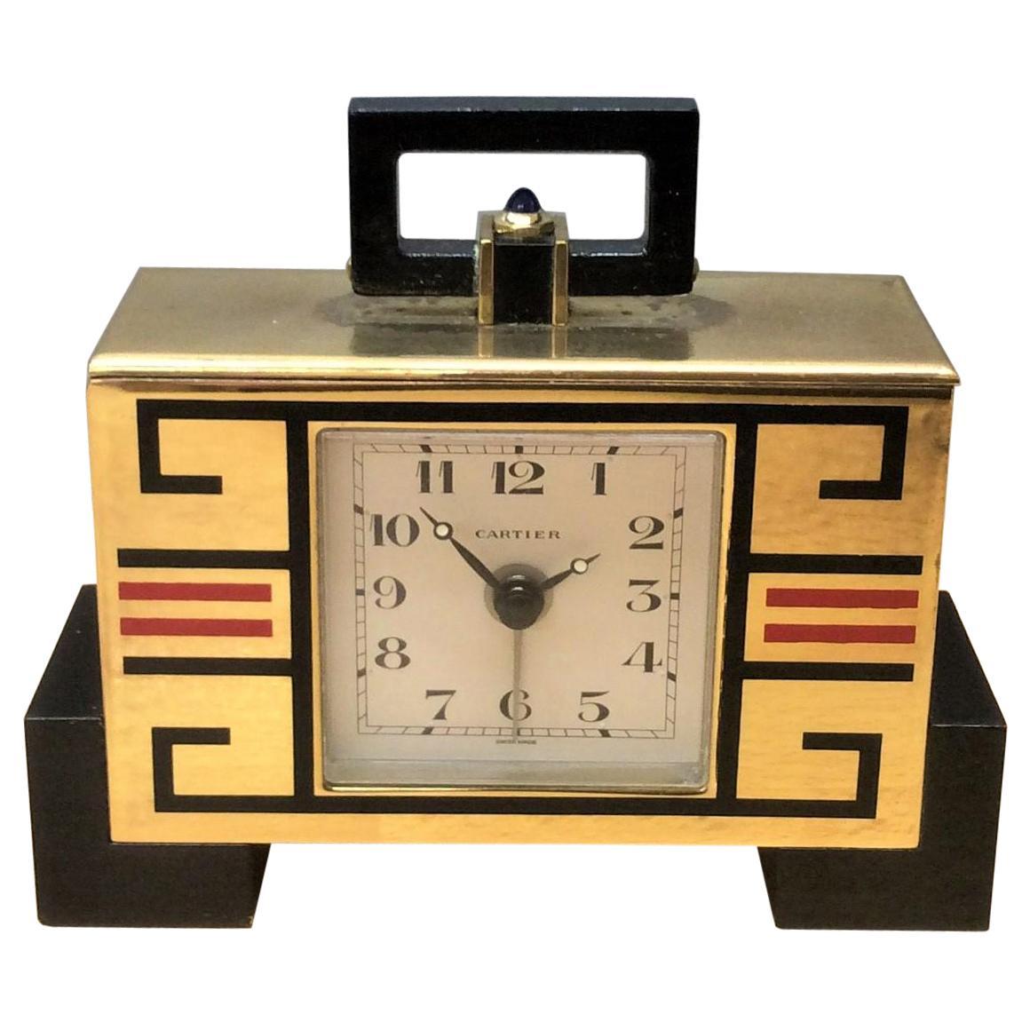 Art Deco 'cubist' Travel Clock by Cartier