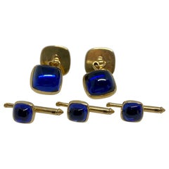 Art Deco Cufflinks and Studs in Yellow Gold with Sapphires by Larter & Sons
