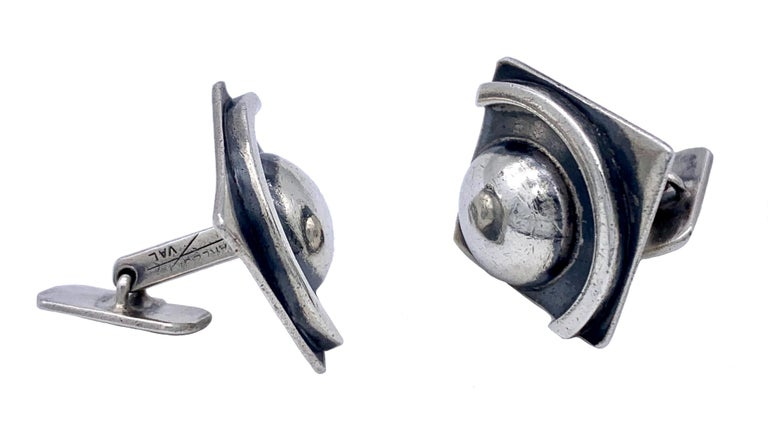 These chunky sterling silver Art Deco cufflinks are fully signed Charles for VAL, ' Verreries d'Art Lorrain ' which belonged to Daum, Nancy and were made in 1920 ca.