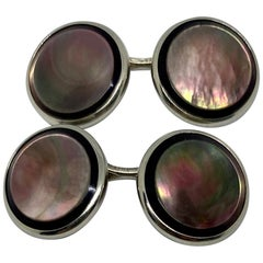 Art Deco Cufflinks in 14 Karat White Gold with Abalone by Larter & Sons