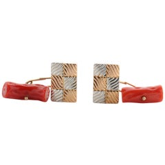 Gold & Coral Cufflinks Art Deco