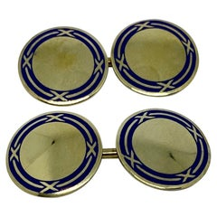 Art Deco Cufflinks in Yellow Gold and Blue Enamel by Sansbury & Nellis