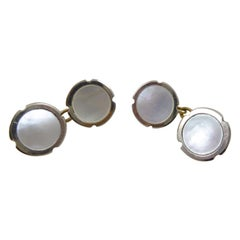 Art Deco Cufflinks with Mother of Pearl in Platinum and Yellow Gold