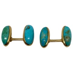 Art Deco Cufflinks with Turquoise Set in 14 Karat Rose Gold by Larter & Sons